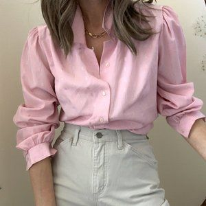 Vintage Textured Puff Sleeve Blouse Button Up
